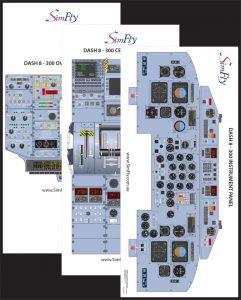 Dash 8-300 3 page cockpit poster set
