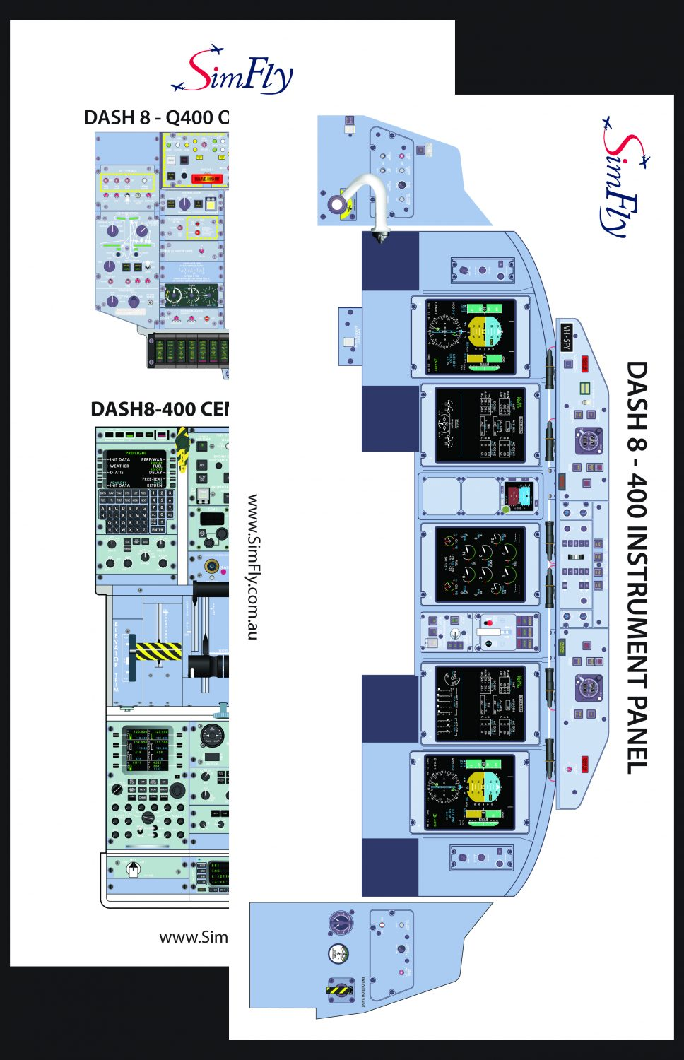DASH 8-400 Overhead Panel cockpit poster