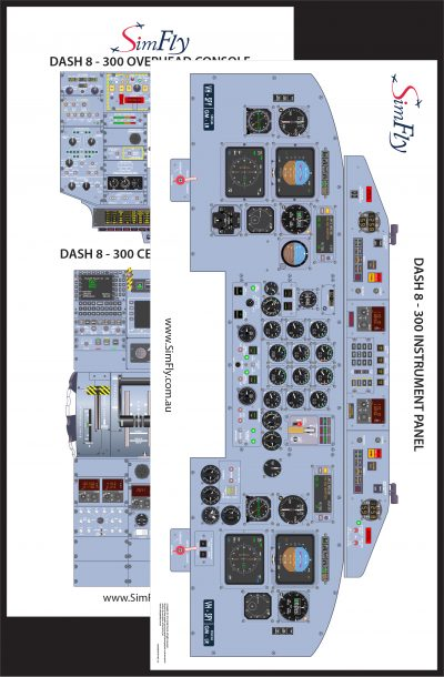 Dash 8-300 2 page cockpit poster set