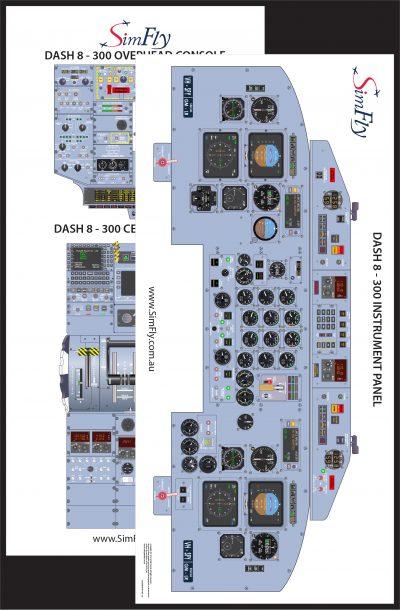 Dash 8-300 2 page cockpit poster set