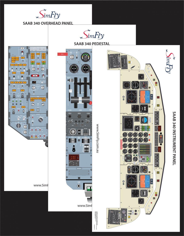 SAAB 340B 3 page cockpit poster set