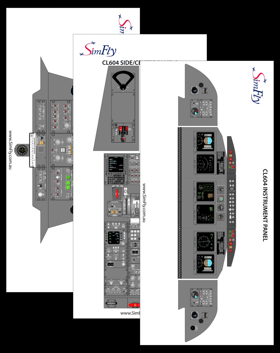 CL604 Overhead panel cockpit poster